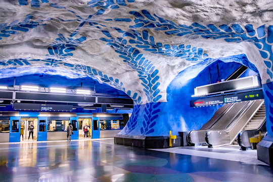 STOCKHOLM, SWEDEN MAY 26, 2019: Interior of the T-Centralen station of the blue subway line in Stockholm, Sweden. Stockholm metro is one of the longest underground art galleries in the world.