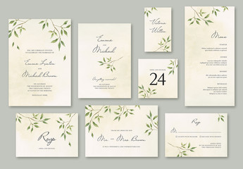 Wedding Suite Layout with Watercolor Leaves