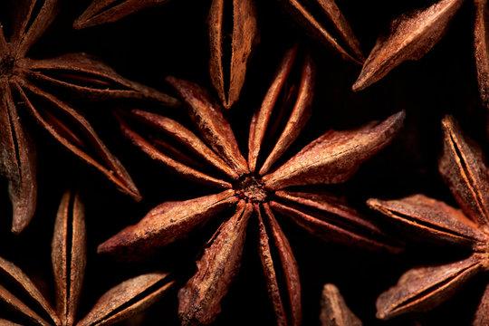 Badyan star anise spice close up