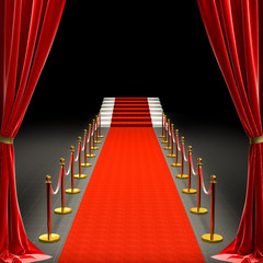 3d image of a red carpet and a staircase.