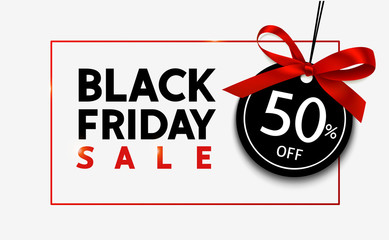 Wall Mural - Black friday sale design template. Decorative price tag with red bow. Vector illustration