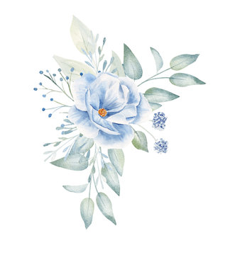 Blue flowers and leaves hand drawn illustration