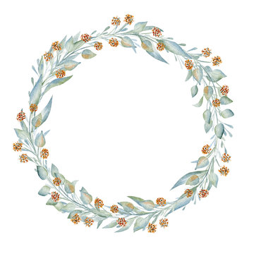 Blank hand drawn flourish wreath watercolor frame