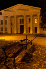 night view of the square in Szekszard, Hungary