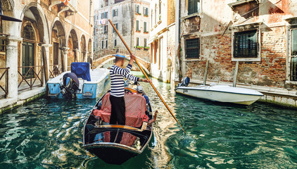 Aluminium Prints Venice venetian gondolier venice italy.