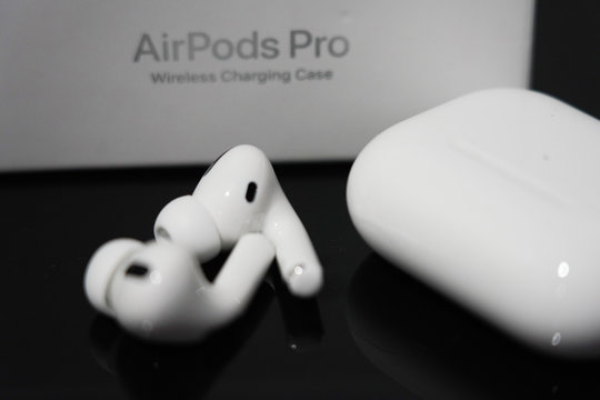 BANGKOK,THAILAND-NOVEMBER 27: Close-up on The New Apple Airpods Pro on November 27,2019