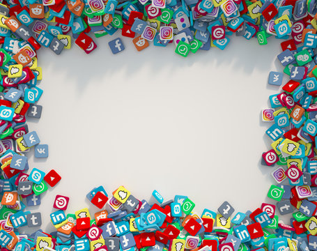 3D rendering of popular social media icons forming a frame around lots of copy space
