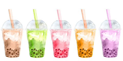 Collection of bubble tea with flavor and tapioca pearl