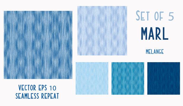 Dyed Denim Blue Marl Variegated Heather Texture Background. Vertical Blended Line Seamless Pattern. T-Shirt Fabric Bleached Indigo Jersey Textile. Triblend Melange Allover Print. Vector Eps 10 Set 5