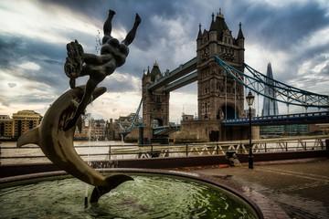 Tower Bridge in London  dramitic skies in background