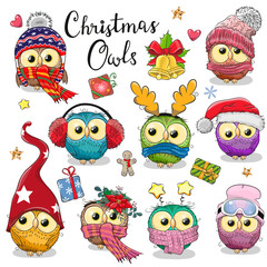 Poster Owls cartoon Cute cartoon Christmas owls on a white background