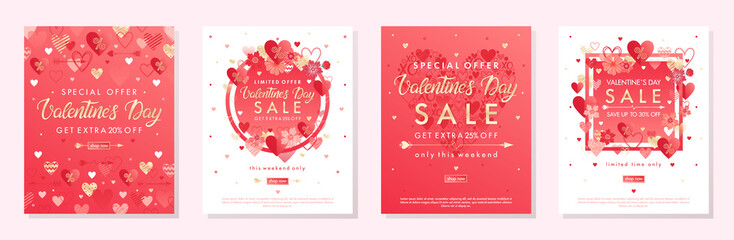 Bundle of Valentines Day special offer banners with hearts and golden foil elements.Sale templates perfect for prints, flyers, banners, promotions, special offers and more.Vector Valentines promos. Fotomurales