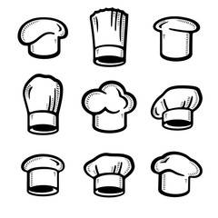 chef hats set. Collection icon chef hats. Vector