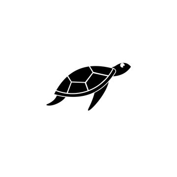Turtle icon, Sea turtle vector illustration,  Logo for buttons, websites, mobile apps and other design needs, Vector image of contour label