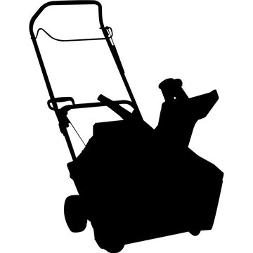 Isolated Gardening Tool Snow Blower Silhouette Vector Illustration