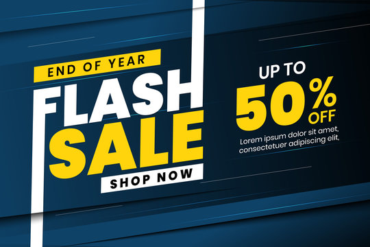 End of year flash sale banner discount up to 50% off