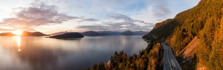 Papiers peints Canada Sea to Sky Hwy in Howe Sound near Horseshoe Bay, West Vancouver, British Columbia, Canada. Aerial panoramic view during a colorful sunset in Fall Season.