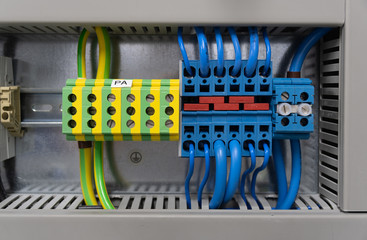 wiring in a switchboard - colored cable connections