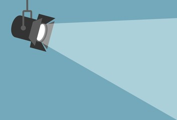 Keuken foto achterwand Licht, schaduw Spotlight shining flat illustration. Movie spotlight on blue background. Vector flat illustration