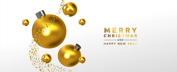 Wall Mural - Christmas New Year banner gold 3d ornament falling