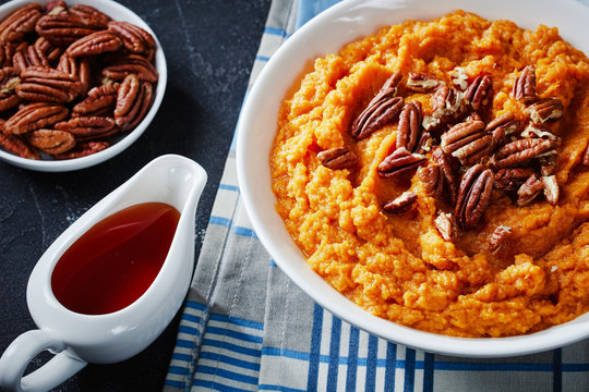 mashed sweet potato topped with pecan nuts