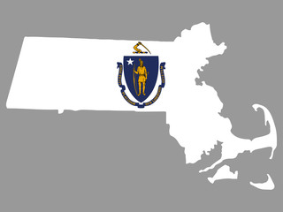 Map flag of the U.S. state of Massachusetts Vector