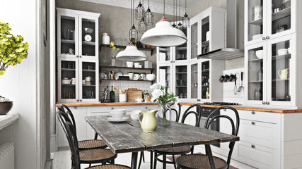Obraz Scandinavian or country style kitchen with eating area and simplistic accents. 3d rendering - fototapety do salonu