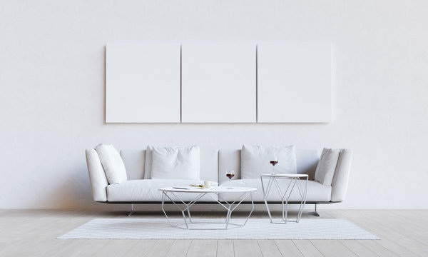 White living room with couch, table and mockup pictures. 3D render illustration.