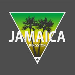 Kingston jamaica paradise sunset palm tree distressed poster beach apparel