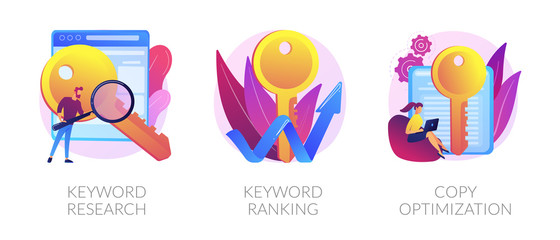 Search engine optimization service icons set. SEO analytics, marketing business. Keyword research, keyword ranking, copy optimization metaphors. Vector isolated concept metaphor illustrations