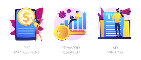 Content marketing and SEO copywriting flat icons set. Internet advertising and blogging. PPC management, Keyword research, Ad writing metaphors. Vector isolated concept metaphor illustrations