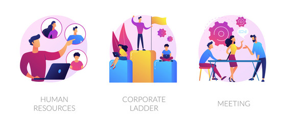 Staff management icons set. Job promotion, leadership ways. Business conference. Human resources, corporate ladder, meeting metaphors. Website web page template - concept metaphors.