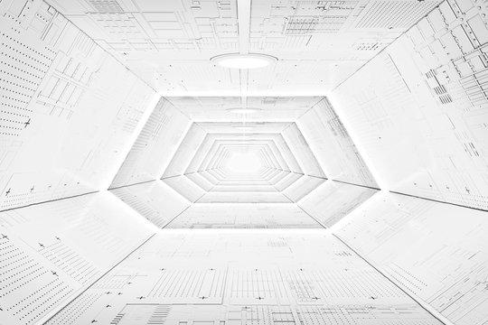 Futuristic Sci-Fi Spaceship Corridor Interior with Light Panels. 3d Rendering