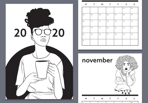 Black and White Calendar Layout