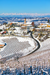 Small town of Treiso covered in snow in Italy.