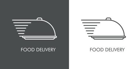Servicio entrega de comida a domicilio. Icono plano lineal bandeja de comida con lineas de velocidad en fondo gris y fondo blanco