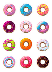 Delicious donuts in glaze vector image set