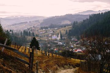 Door stickers Lavender Amazing mountain lanscape in the wild Carpathians
