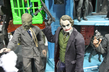 KUALA LUMPUR, MALAYSIA -MARCH 31, 2018: Fiction supervillain action figure character of JOKER from DC movies and comic. Joker action figure toys in various size display for the public.