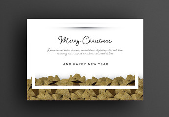 Elegant Christmas Card Layout with Gold Ornaments