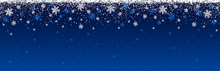 Wall Mural - Blue christmas banner with snowflakes. Merry Christmas and Happy New Year greeting banner. Horizontal new year background, headers, posters, cards, website.Vector illustration