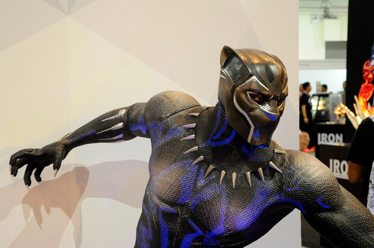KUALA LUMPUR, MALAYSIA - APRIL 29, 2018: Fictional character action figure BLACK PANTER from Marvel. The action figure displayed by collector for public