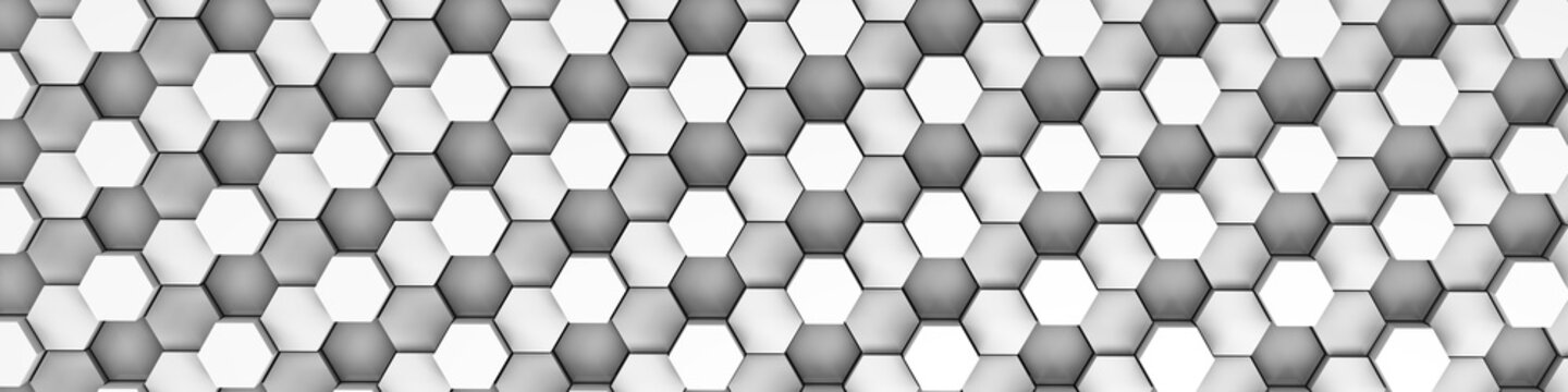 3d rendering of white geometric hexagonal abstract background. Pattern for texture of wallpapers. 3d background light honeycomb of different height.
