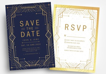 Art Deco Save-The-Date Card Layout