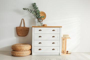 Fototapeta Chest of drawers in stylish room interior obraz