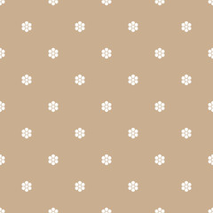 Vector seamless polka dots pattern with flowers. Cute design for wrapping, wallpaper, textile