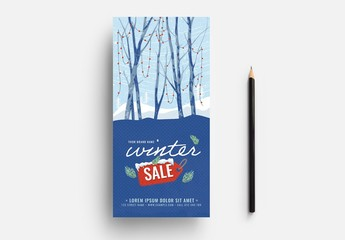 Card Layout with Winter Scene Illustration