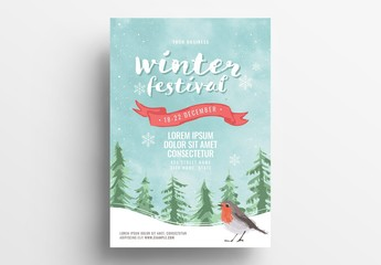 Event Flyer with Winter Scene Illustration