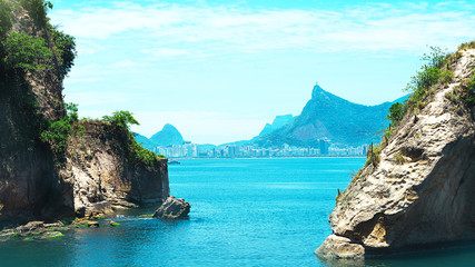 Wall Mural - Beautiful view of Rio de Janeiro with Christ Redeemer and Corcovado Mountain.