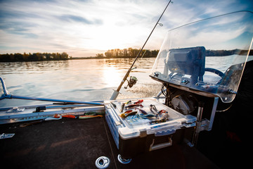 spinning with bait on a fishing boat